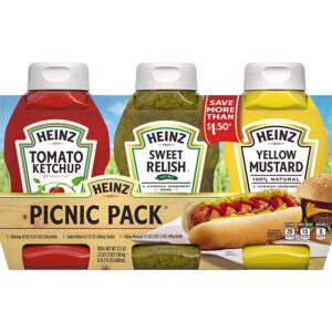 HEINZ Ketchup, Sweet Relish & Yellow Mustard Picnic 3 Pack